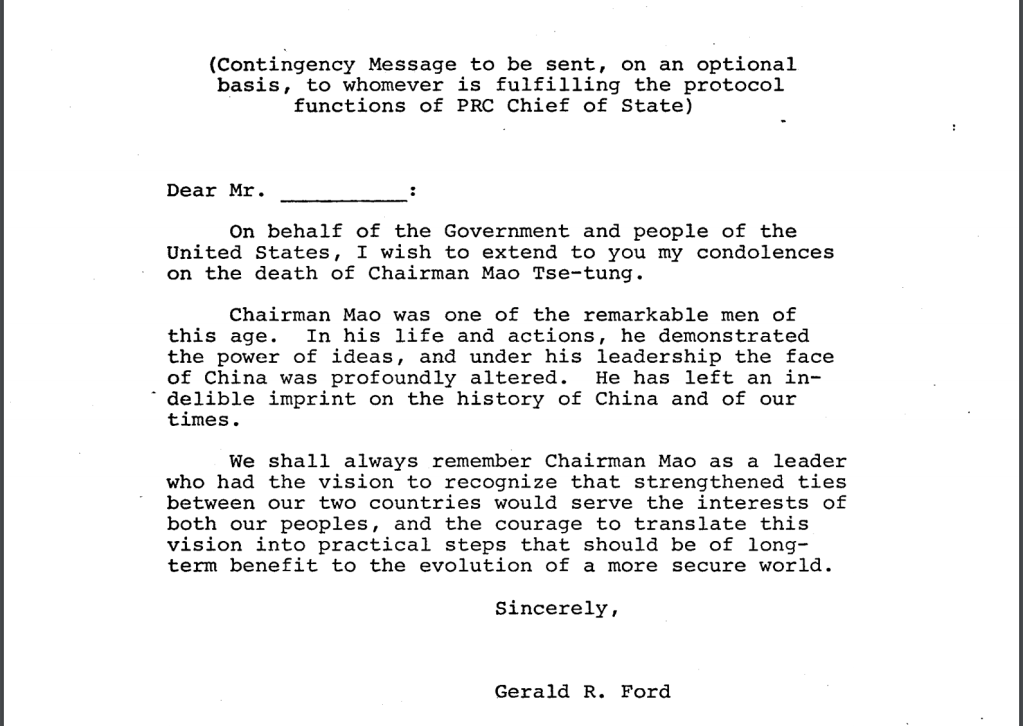 Contingency letter Gerald Ford to China on death of Mao Zedong August 3, 1976