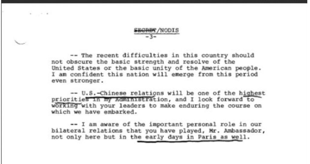 Gerald Ford talking points with China August 9, 1974