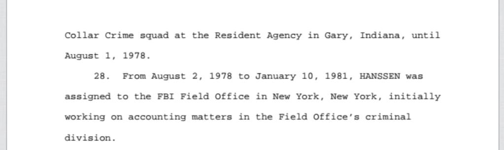 Robert Hanssen FBI Financial Crimes PROMIS