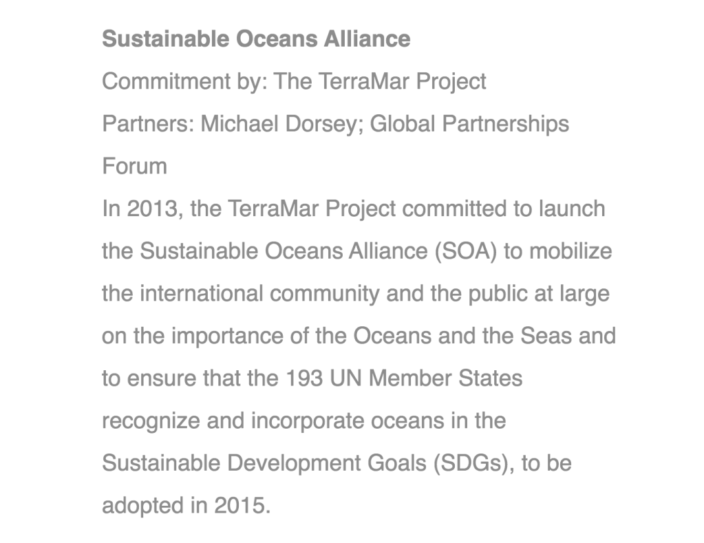September 25, 2013.  Bill Clinton, Hillary Clinton, and Chelsea Clinton announce financial commitments that include Ghislaine Maxwell's TerraMar Project