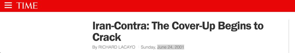 Time Magazine BCCI Iran Contra Cover-Up June 24, 2001