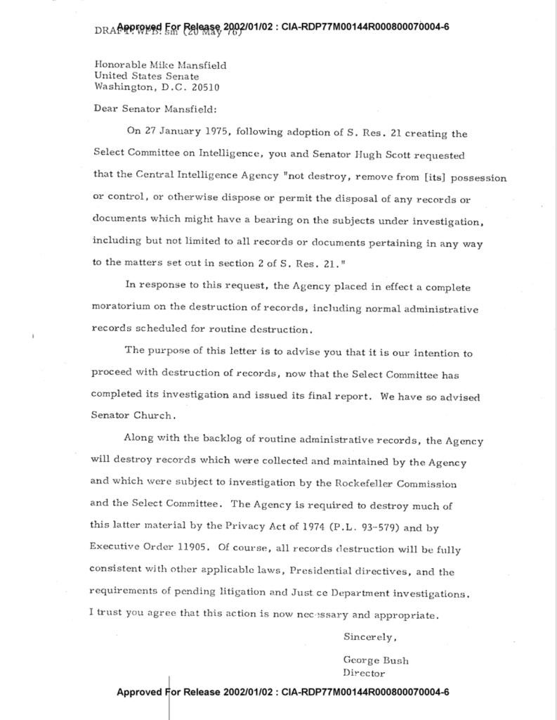William Barr George Bush CIA records destruction May 20, 1976