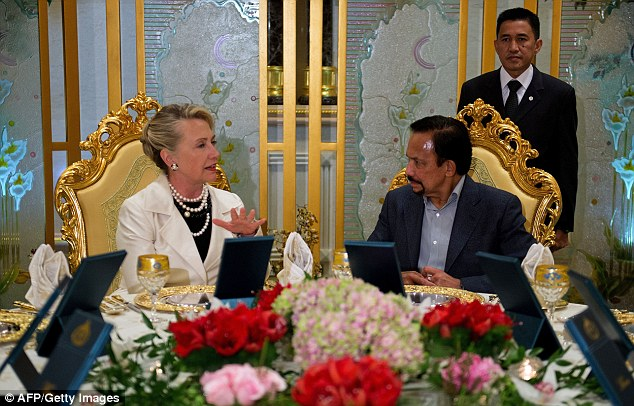 Secretary of State Hillary Clinton and the Sultan of Brunei September 6, 2012.