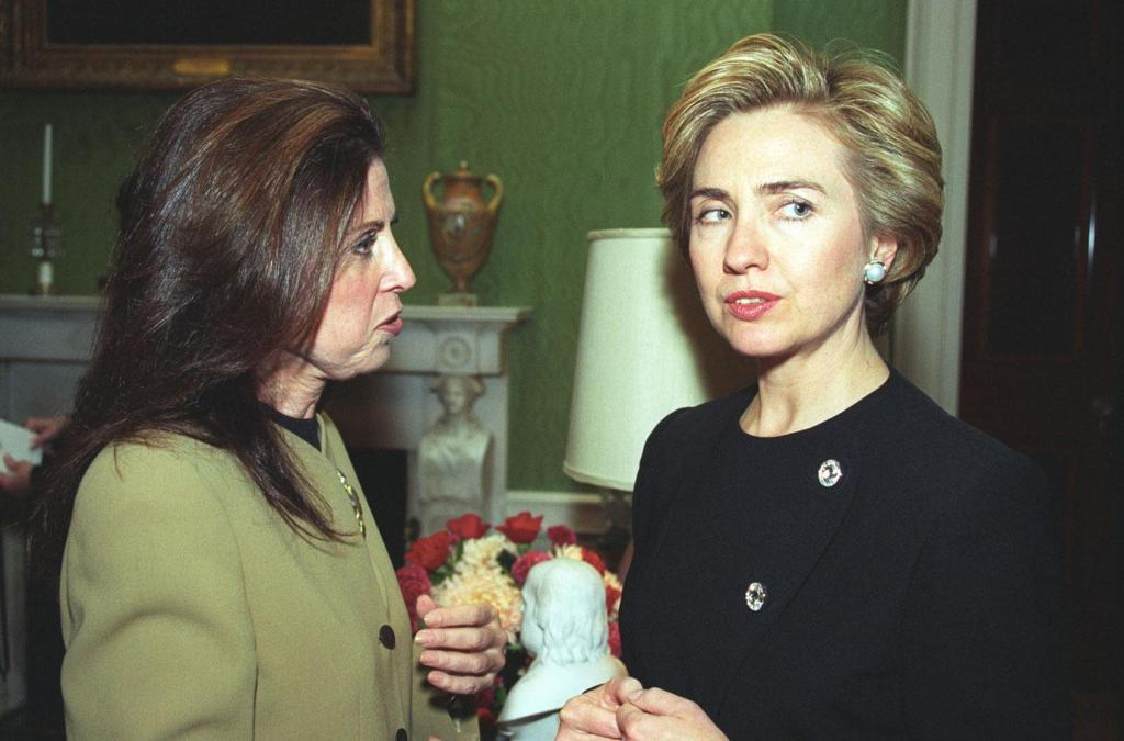 Hillary Clinton at White House Donor's Reception September 29, 1993 with Ghislaine Maxwell and Bill Clinton.