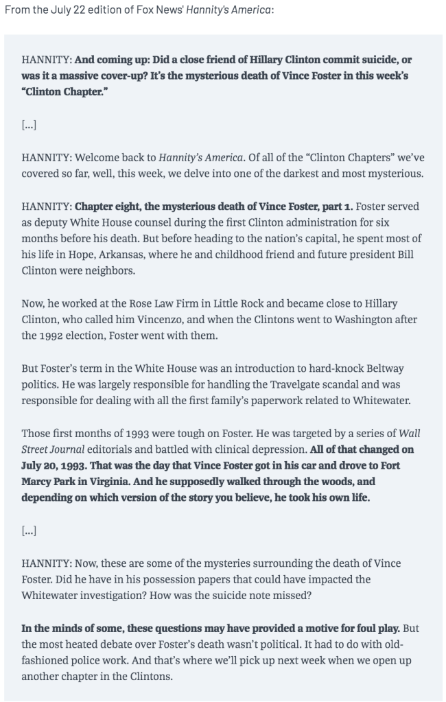 Sean Hannity, Vince Foster, Hillary Clinton July 22, 2007