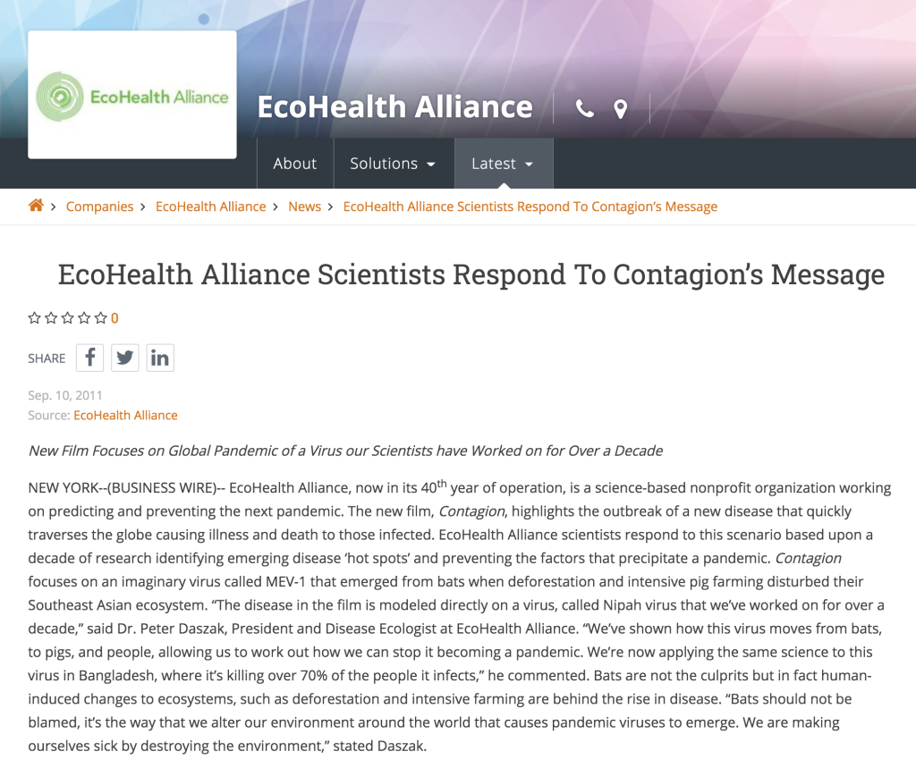 Contagion Virus Movie by EcoHealth Alliance, Ian Lipkin, Peter Daszak,