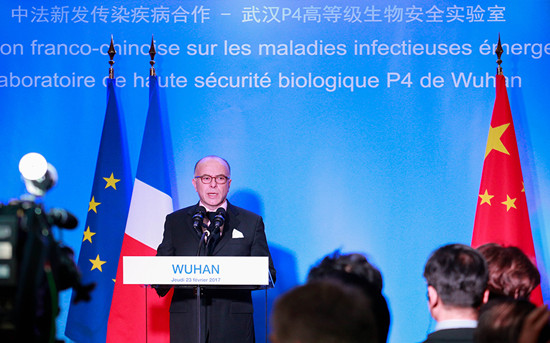 This image has an empty alt attribute; its file name is french-prime-minister-bernard-cazeneuve-on-his-tour-to-the-p4-laboratory-in-wuhan-february-23-2017..jpeg